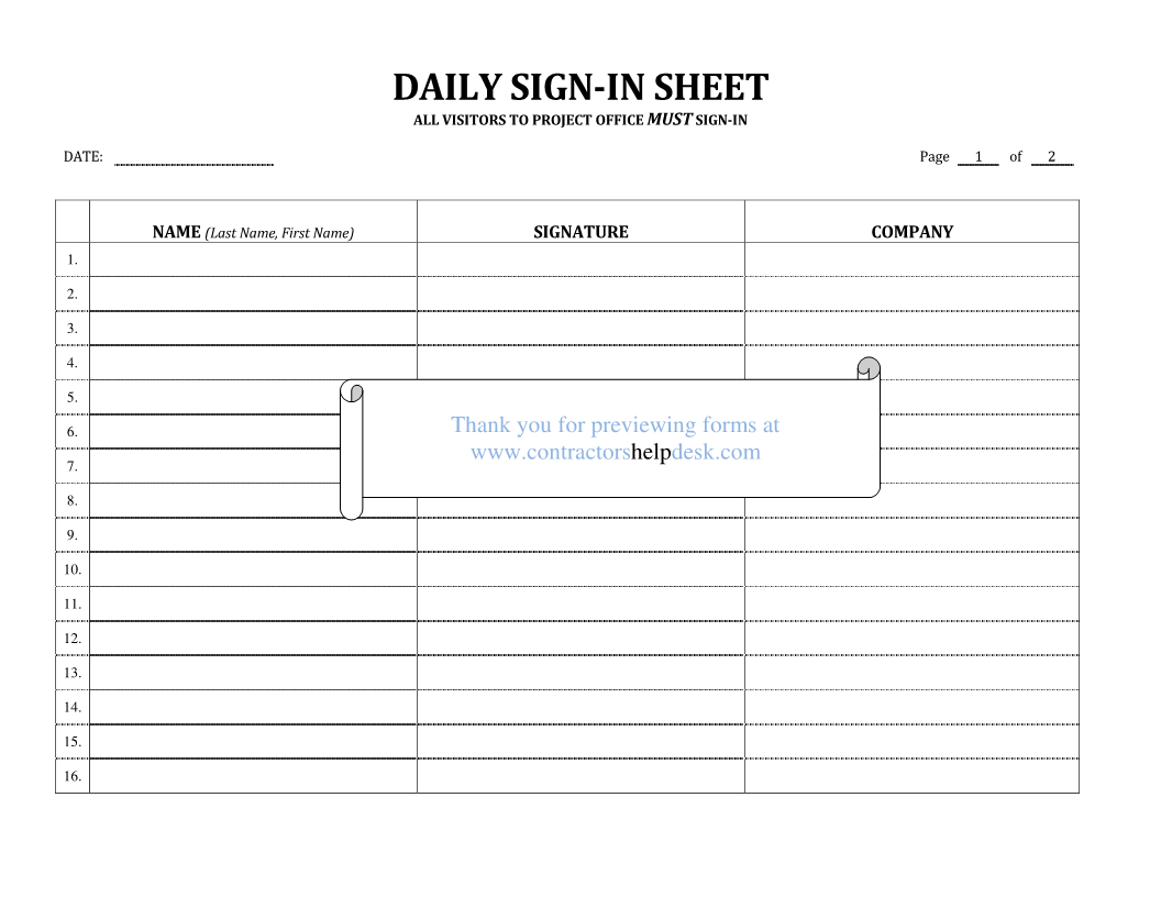sign in sheet form