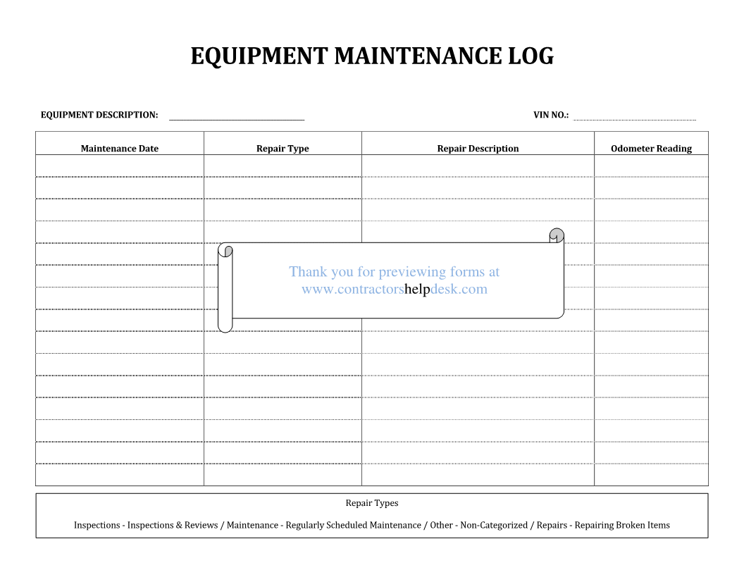 preventive maintenance log