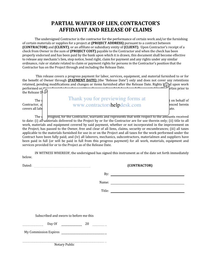 release of lien form