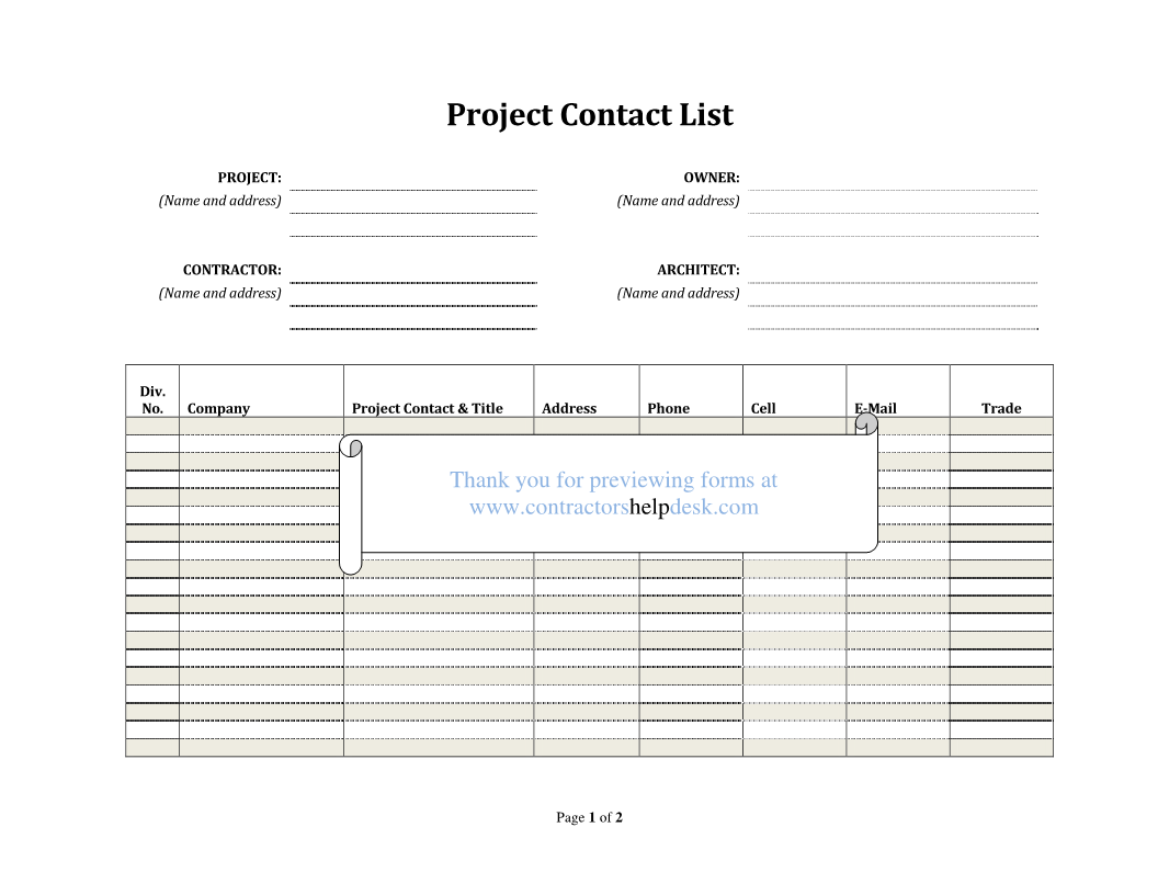 Final Project Punch List Construction Forms For